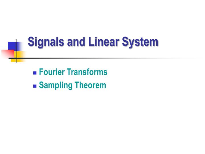 signals and linear system n.