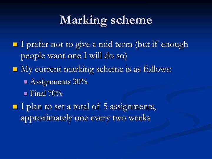 Marking scheme