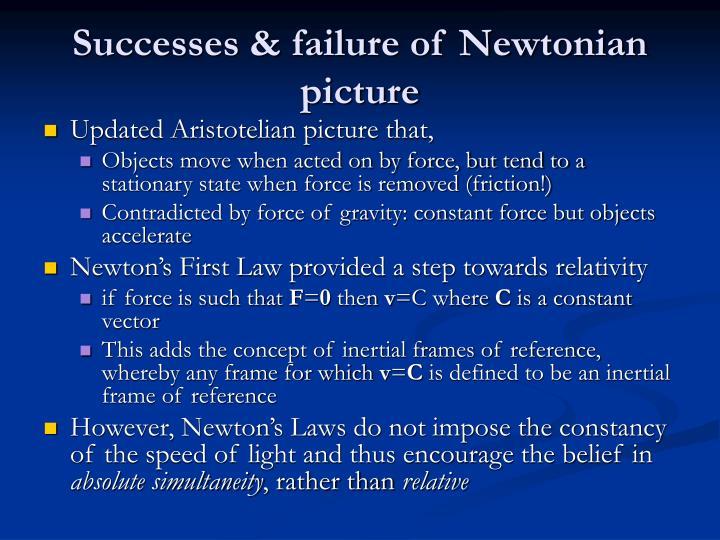 Successes & failure of Newtonian picture