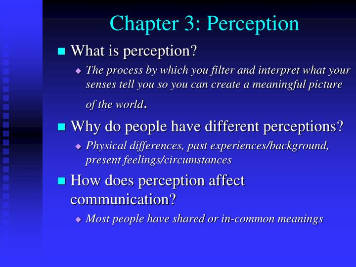 what are the perceptions of the Perceptions of bias cause the notion that the media is biased i set forth an experimental design to test if ideological cues, via the outlet label, caused perceptions of bias in the.