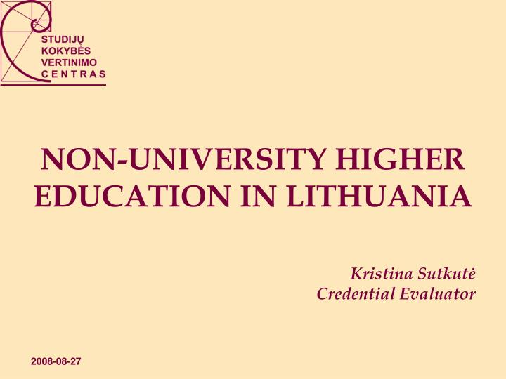 non university higher education in lithuania n.