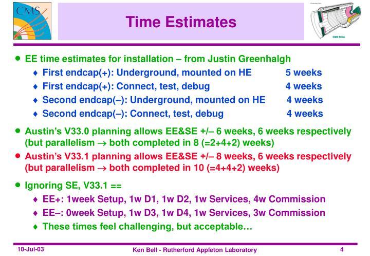 Time Estimates