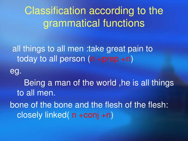 Classification according to the grammatical functions