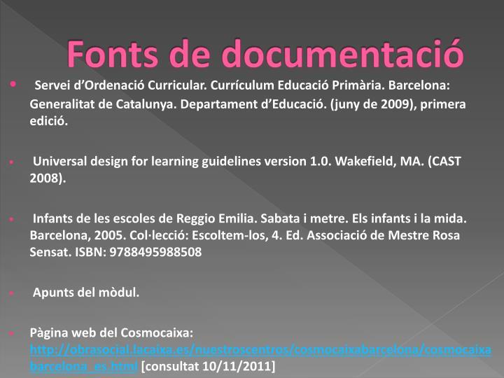 Fonts de documentació