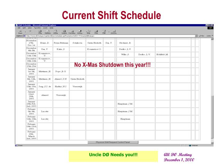 Current shift schedule