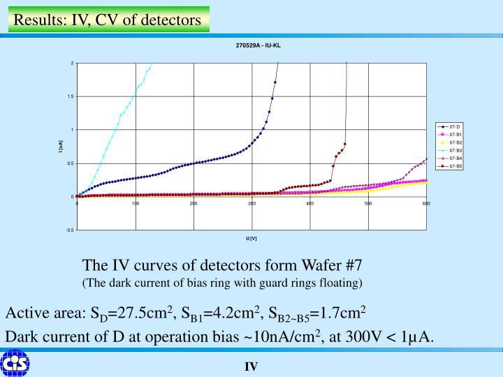 Results: IV, CV of detectors