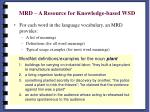 mrd a resource for knowledge based wsd