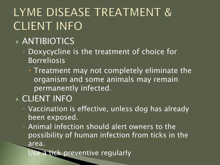 LYME DISEASE TREATMENT & CLIENT INFO