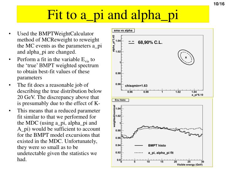 Fit to a_pi and alpha_pi