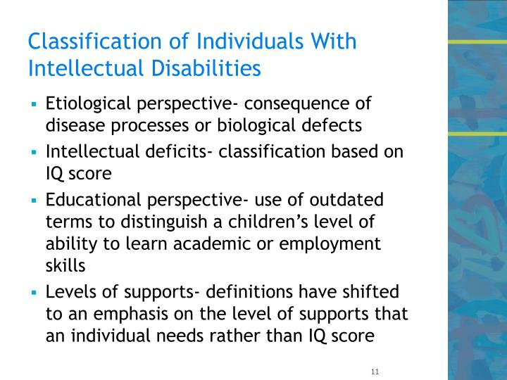 Classification of Individuals With Intellectual Disabilities