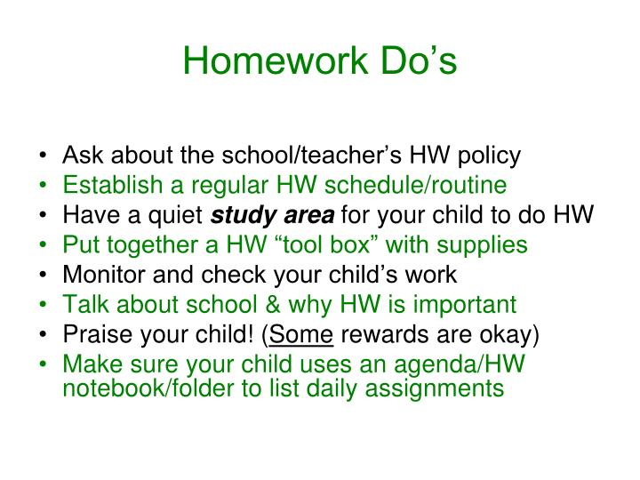 Homework Do's