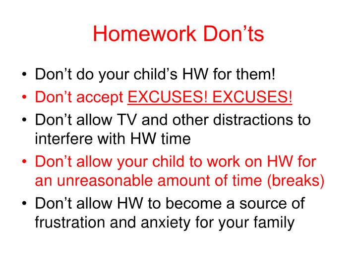 Homework Don'ts