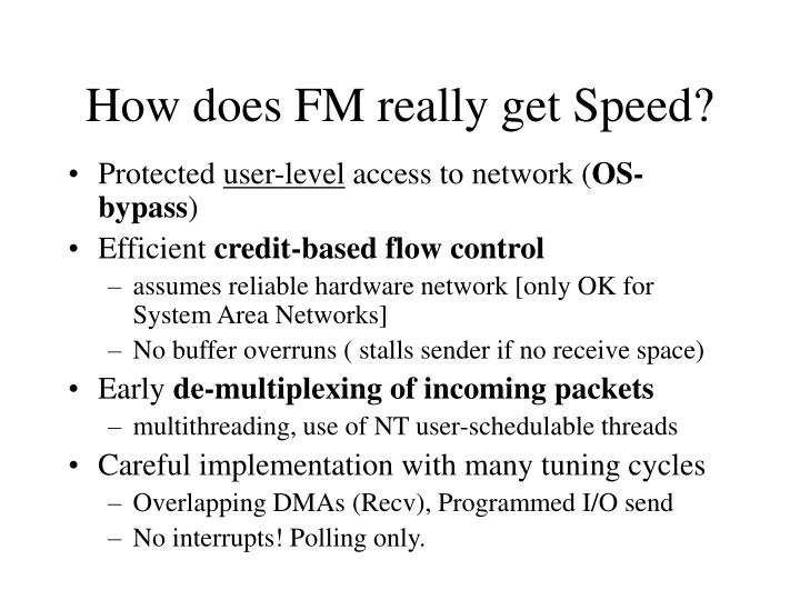 How does FM really get Speed?