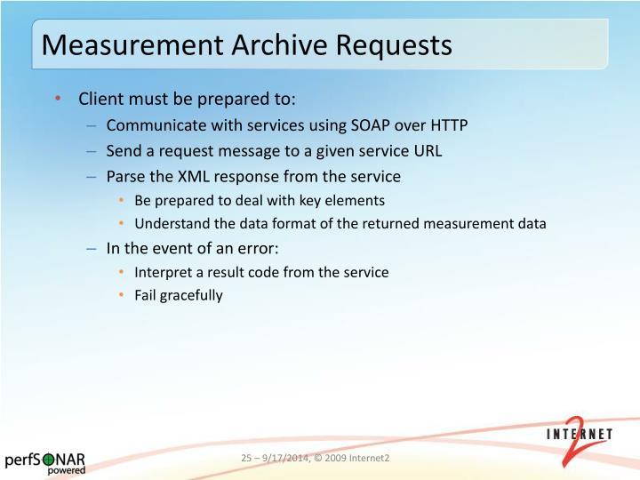 Measurement Archive Requests