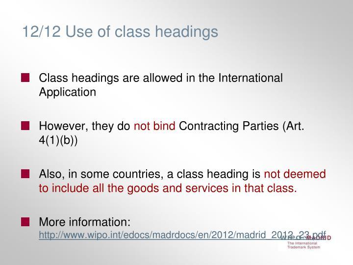 12/12 Use of class headings