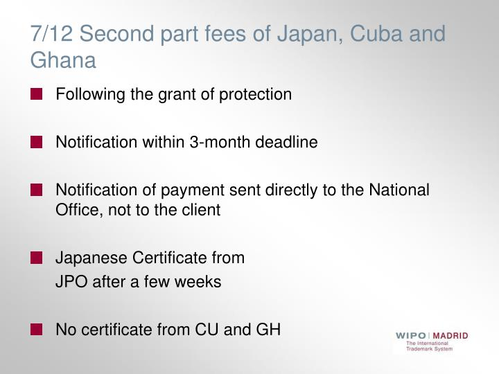 7/12 Second part fees of Japan, Cuba and Ghana