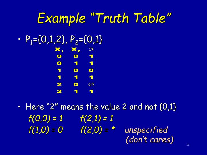 """Example """"Truth Table"""""""
