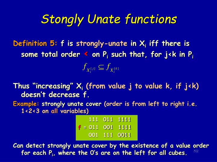 Stongly Unate functions