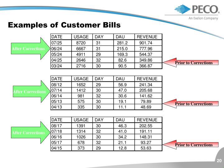 Examples of Customer Bills