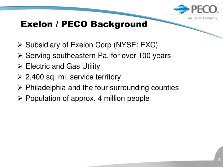 Exelon peco background