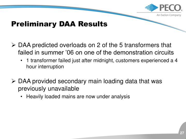 Preliminary DAA Results