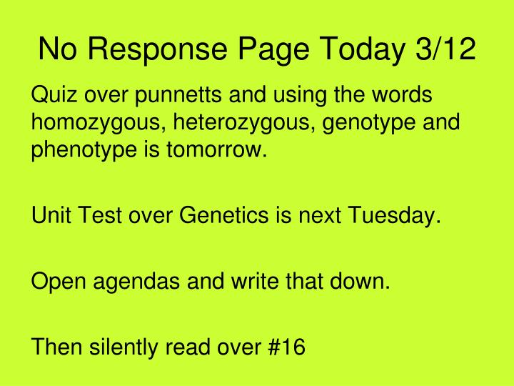 No Response Page Today 3/12