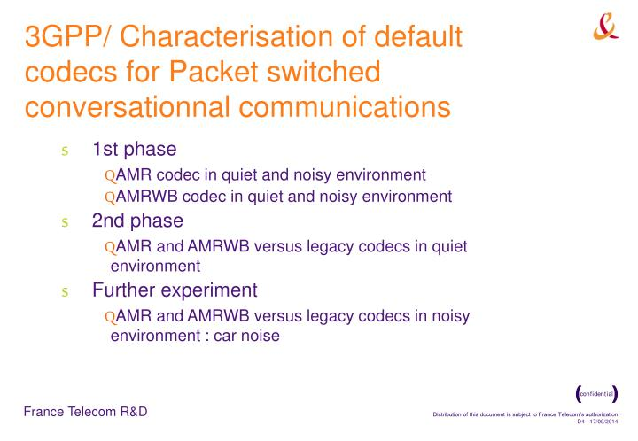 3GPP/ Characterisation of default codecs for Packet switched conversationnal communications
