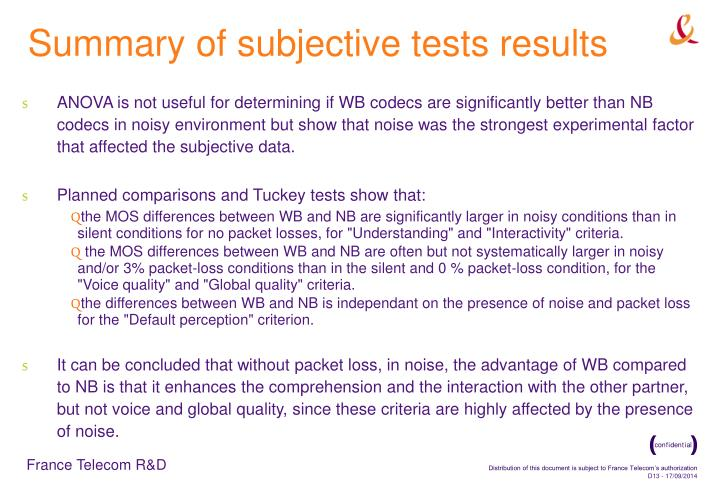 Summary of subjective tests results