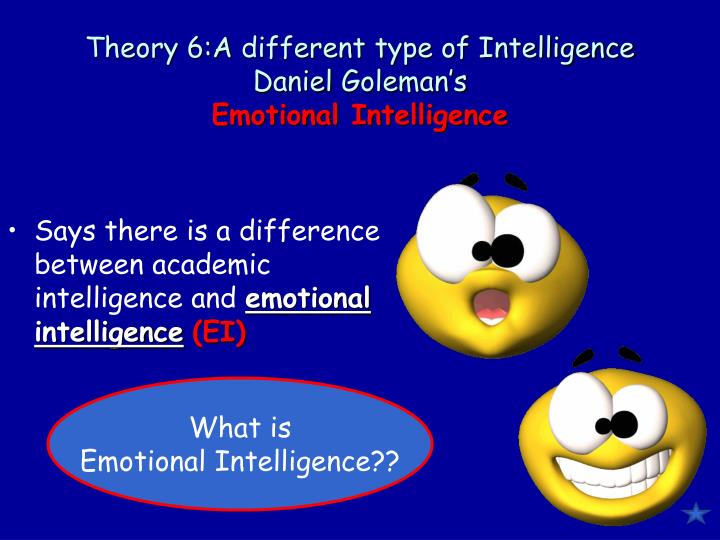 the different theories of intelligence The main difference of the sternberg's triarchic theory of intelligence from the theory of multiple intelligences is that the three parts relate each other and are divisions of a bigger single entity the analytic draws on the basic cognitive processes it is the ability to reason, to process information and to solve problems.
