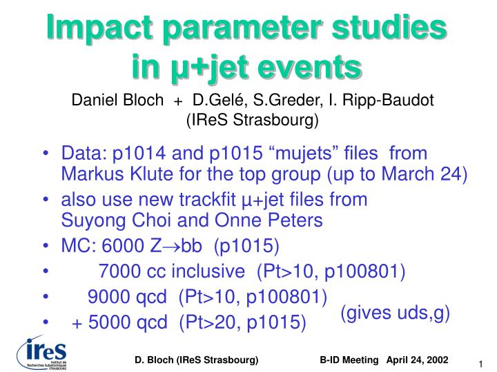 Impact parameter studies in jet events