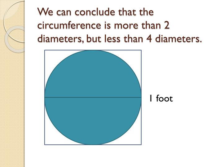 We can conclude that the circumference is more than 2 diameters, but less than 4 diameters.