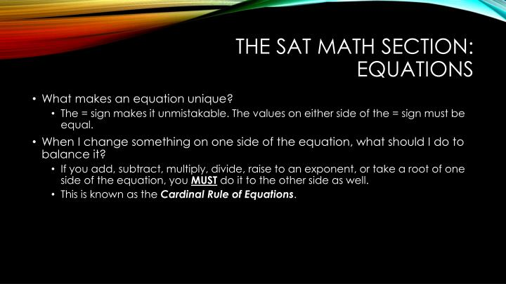 The sat math section: