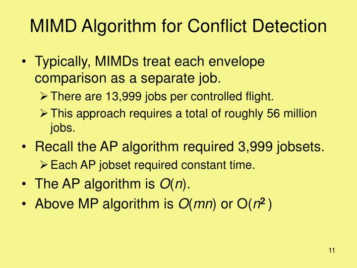 MIMD Algorithm for Conflict Detection