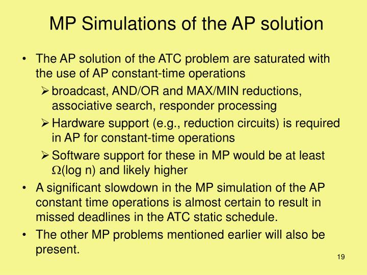 MP Simulations of the AP solution
