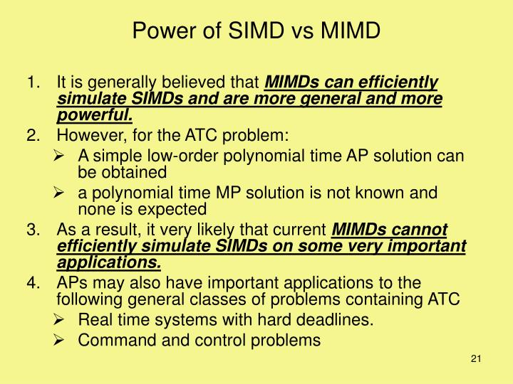 Power of SIMD vs MIMD