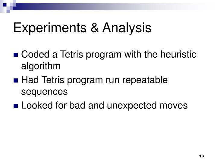 Experiments & Analysis