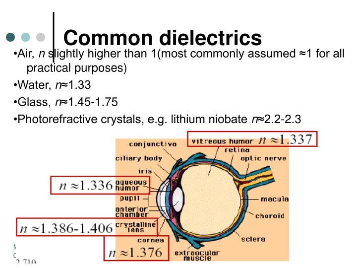 Common dielectrics
