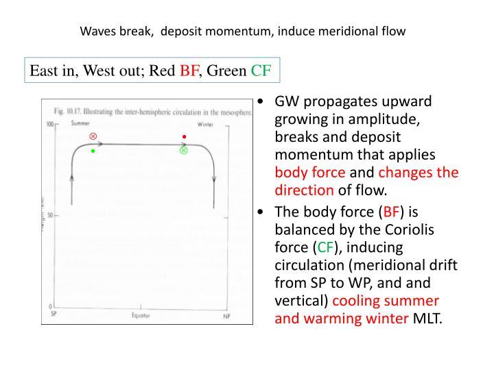 Waves break,  deposit momentum, induce