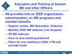 education and training of section md and other officers