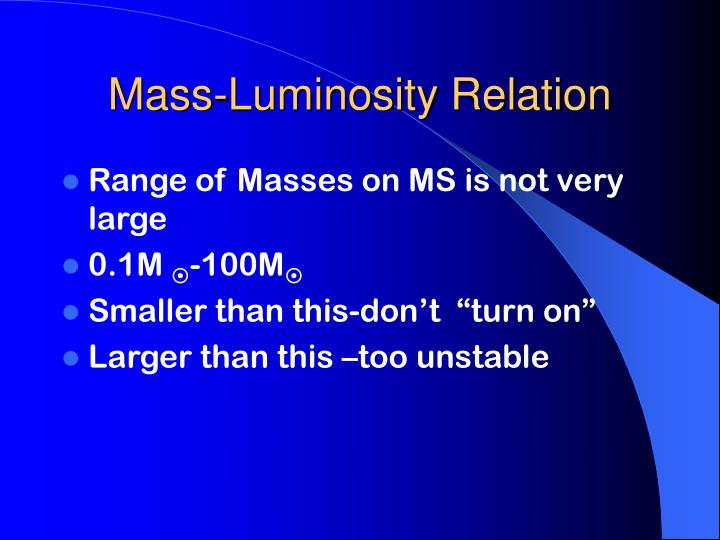 Mass-Luminosity Relation