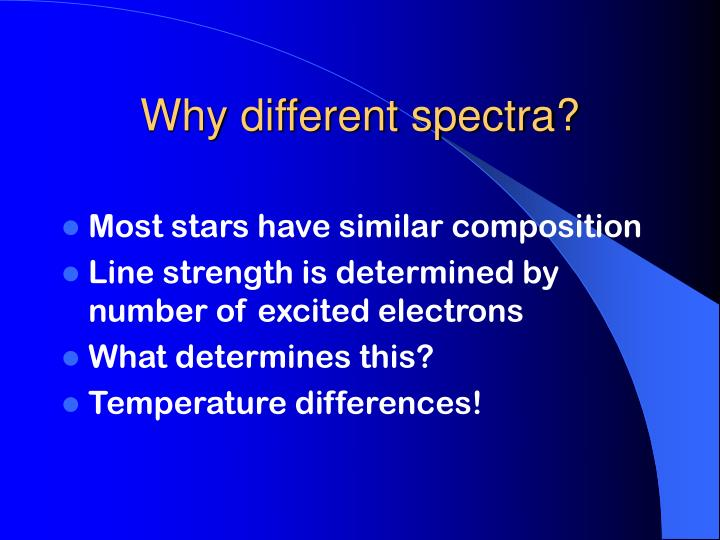 Why different spectra?