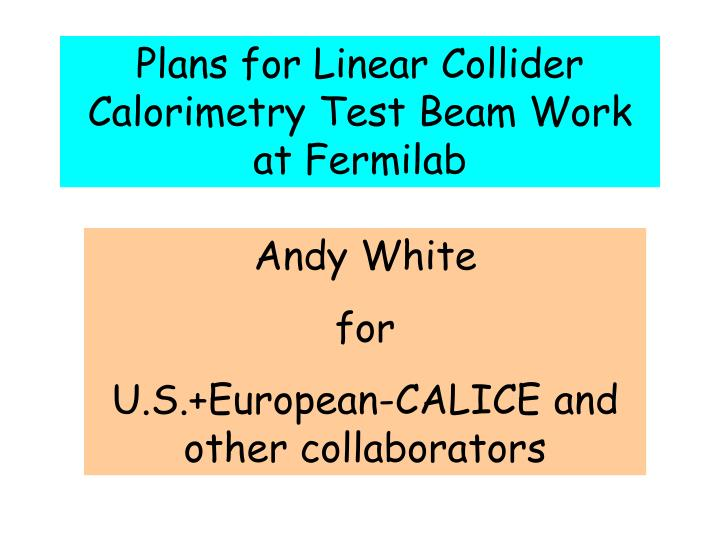 Plans for Linear Collider Calorimetry Test Beam Work at Fermilab