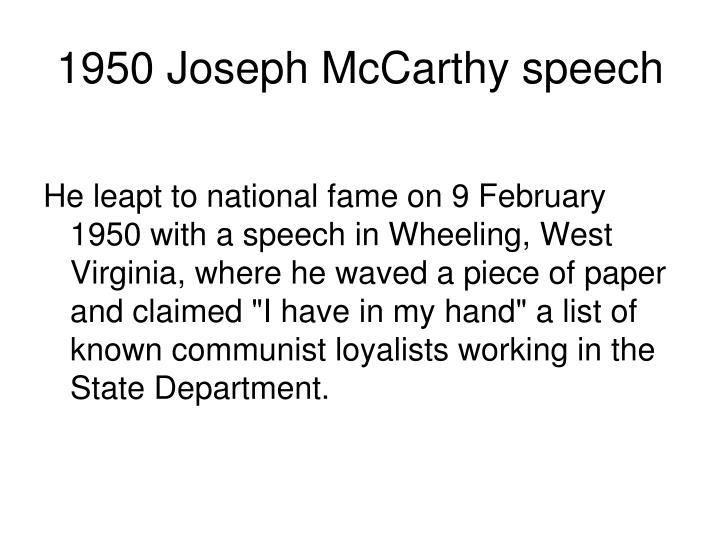 1950 Joseph McCarthy speech