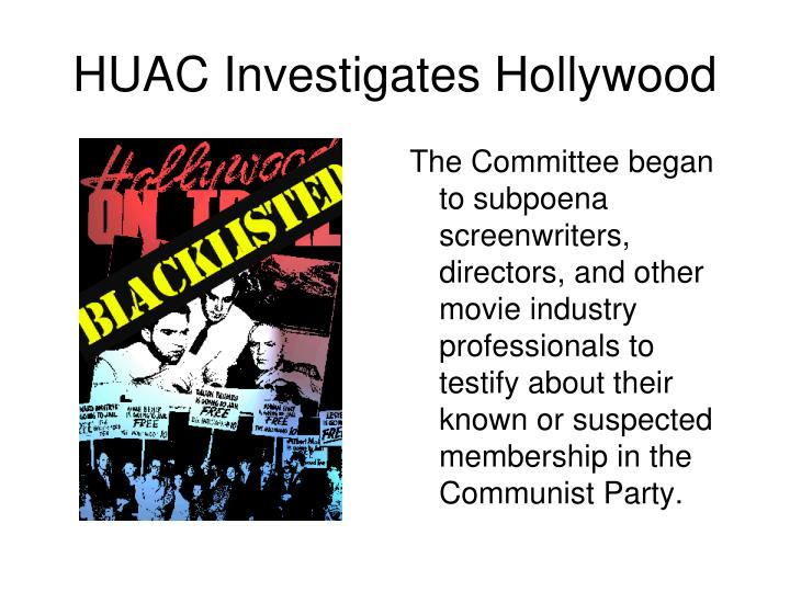 The Committee began to subpoena screenwriters, directors, and other movie industry professionals to testify about their known or suspected membership in the Communist Party.