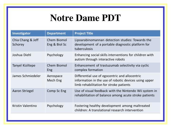 Notre Dame PDT