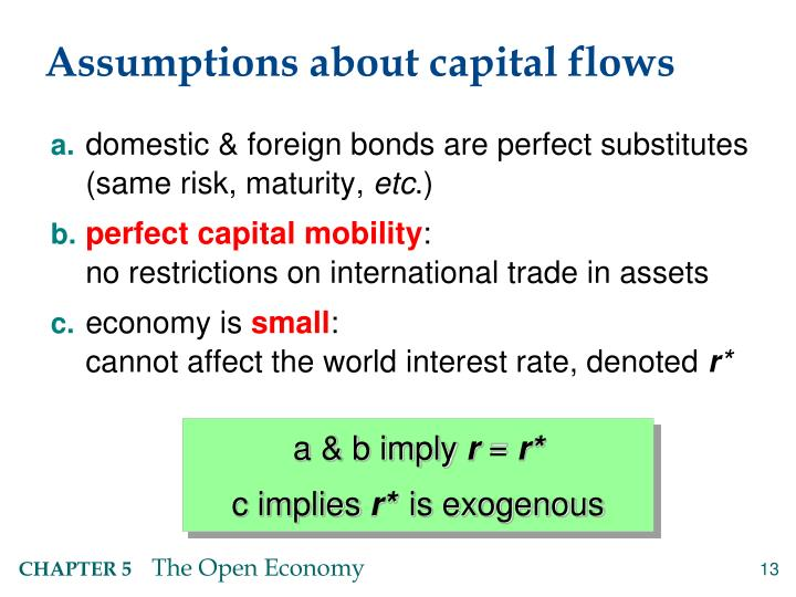 Assumptions about capital flows