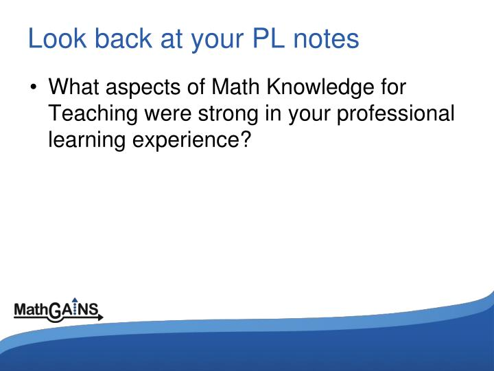 Look back at your PL notes