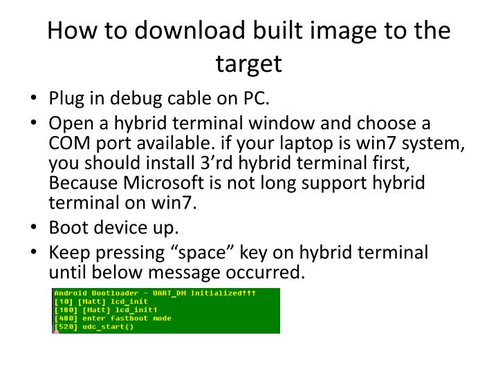 How to download built image to the target