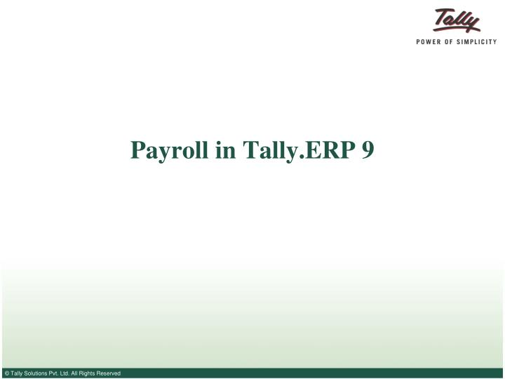 how to prepare payroll in tally