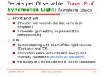 details per observable trans prof synchroton light remaining issues